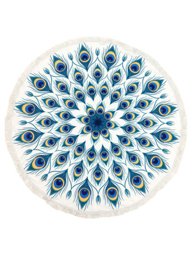 PEACOCK FEATHER PATTERN  ROUND BEACH TOWEL MAT
