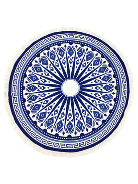 TRIBAL PATTERN  ROUND BEACH TOWEL MAT-BLUE
