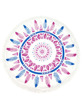 FEATHER PATTERN  ROUND BEACH TOWEL MAT