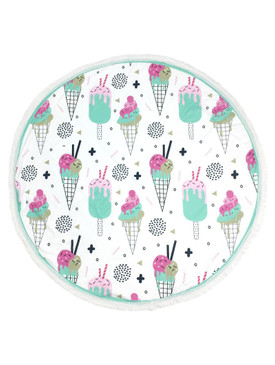 ICE CREAM PRINT  ROUND BEACH TOWEL MAT-MINT AND PINK