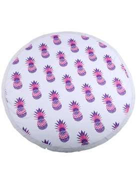 PINEAPPLE PATTERN  ROUND BEACH TOWEL MAT-PINK AND PURPLE