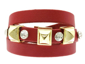 Crystal Stone Stud Leather Bracelet - Red