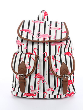 BAG ACCESSORY / STRIPED FLAMINGO PRINT / TRAVEL BACKPACK / MAGNETIC CLOSURE / TWO FRONT POCKETS / INTERIOR ZIPPER POCKET / ONE SIZE / 13 INCH WIDE / 15 INCH TALL / 6 INCH DEEP / ADJUSTABLE SHOULDER STRAP / NICKEL AND LEAD COMPLIANT