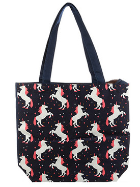 BAG ACCESSORY / CANVAS COTTON / UNICORN PRINT TOTE / WATER RESISTANCE LINING / INTERIOR ZIPPER POCKET / ONE SIZE / 16 INCH WIDE / 14 INCH TALL / 4 1/2 INCH DEEP / 11 INCH HANDLE DROP / NICKEL AND LEAD COMPLIANT