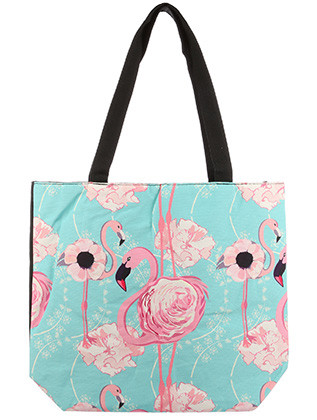BAG ACCESSORY / CANVAS COTTON / FLOWER FLAMINGO PRINT TOTE / WATER RESISTANCE LINING / INTERIOR ZIPPER POCKET / ONE SIZE / 16 INCH WIDE / 14 INCH TALL / 4 1/2 INCH DEEP / 11 INCH HANDLE DROP / NICKEL AND LEAD COMPLIANT