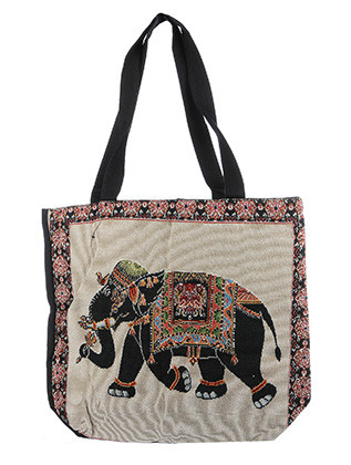 BAG ACCESSORY / CANVAS COTTON / EMBROIDERED ELEPHANT TOTE / WATER RESISTANCE LINING / INTERIOR ZIPPER POCKET / ONE SIZE / 16 INCH WIDE / 14 INCH TALL / 4 1/2 INCH DEEP / 11 INCH HANDLE DROP / NICKEL AND LEAD COMPLIANT