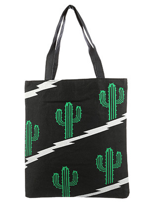 BAG ACCESSORY / COTTON / CACTUS PRINT TOTE / WATER RESISTANCE LINING / INTERIOR ZIPPER POCKET / ONE SIZE / 13 INCH WIDE / 15 INCH TALL / 9 INCH HANDLE DROP / NICKEL AND LEAD COMPLIANT