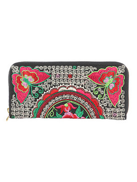 BAG ACCESSORY / BUTTERFLY FLOWER EMBROIDERY / FABRIC CLUTCH WALLET / ZIPPER / COIN POCKET / CASH POCKET / CREDIT CARD POCKET / ONE SIZE / 8 INCH WIDE / 4 INCH TALL / NICKEL AND LEAD COMPLIANT