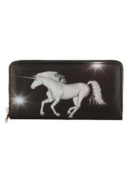 BAG ACCESSORY / UNICORN PRINT / VINYL CLUTCH WALLET / HOLOGRAPHIC / ZIPPER / COIN POCKET / CASH POCKET / CREDIT CARD POCKET / ONE SIZE / 8 INCH WIDE / 4 INCH TALL / NICKEL AND LEAD COMPLIANT