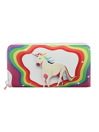 BAG ACCESSORY / UNICORN PRINT / VINYL CLUTCH WALLET / ZIPPER / COIN POCKET / CASH POCKET / CREDIT CARD POCKET / ONE SIZE / 8 INCH WIDE / 4 INCH TALL / NICKEL AND LEAD COMPLIANT