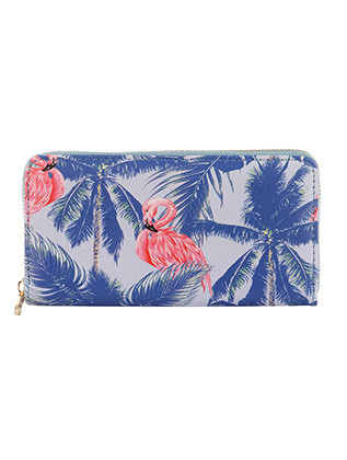 BAG ACCESSORY / FLAMINGO TREE PRINT / VINYL CLUTCH WALLET / ZIPPER / COIN POCKET / CASH POCKET / CREDIT CARD POCKET / ONE SIZE / 8 INCH WIDE / 4 INCH TALL / NICKEL AND LEAD COMPLIANT