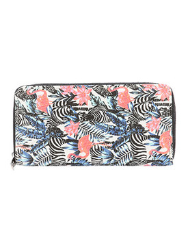 BAG ACCESSORY / ZEBRA FLAMINGO PRINT / CANVAS COTTON CLUTCH WALLET / ZIPPER / COIN POCKET / CASH POCKET / CREDIT CARD POCKET / ONE SIZE / 8 INCH WIDE / 4 INCH TALL / NICKEL AND LEAD COMPLIANT