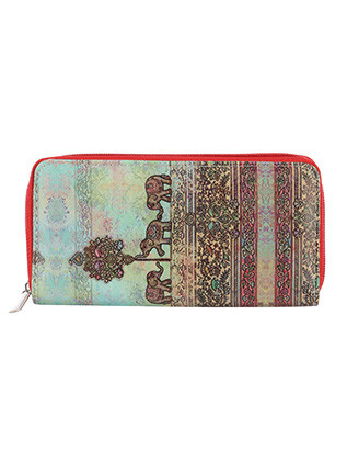 BAG ACCESSORY / ELEPHANT PRINT / VINYL CLUTCH WALLET / HINDU / ZIPPER / COIN POCKET / CASH POCKET / CREDIT CARD POCKET / ONE SIZE / 8 INCH WIDE / 4 INCH TALL / NICKEL AND LEAD COMPLIANT