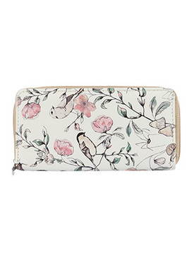 BAG ACCESSORY / FLOWER BIRD PRINT / VINYL CLUTCH WALLET / ZIPPER / COIN POCKET / CASH POCKET / CREDIT CARD POCKET / ONE SIZE / 8 INCH WIDE / 4 INCH TALL / NICKEL AND LEAD COMPLIANT