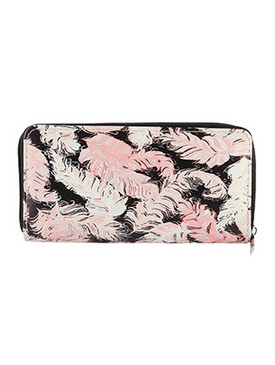 BAG ACCESSORY / FEATHER PRINT / VINYL CLUTCH WALLET / ZIPPER / COIN POCKET / CASH POCKET / CREDIT CARD POCKET / ONE SIZE / 8 INCH WIDE / 4 INCH TALL / NICKEL AND LEAD COMPLIANT