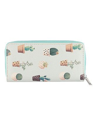 BAG ACCESSORY / CACTUS PRINT / VINYL CLUTCH WALLET / ZIPPER / COIN POCKET / CASH POCKET / CREDIT CARD POCKET / ONE SIZE / 8 INCH WIDE / 4 INCH TALL / NICKEL AND LEAD COMPLIANT