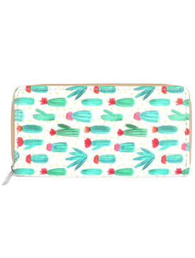 BAG ACCESSORY / CACTUS PRINT / VINYL CLUTCH WALLET / ZIPPER / COIN POCKET / CASH POCKET / CREDIT CARD POCKET / ONE SIZE / 7 1/2 INCH WIDE / 4 INCH TALL / NICKEL AND LEAD COMPLIANT