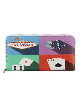 BAG ACCESSORY / VEGAS PRINT / VINYL CLUTCH WALLET / ZIPPER / COIN POCKET / CASH POCKET / CREDIT CARD POCKET / ONE SIZE / 8 INCH WIDE / 4 INCH TALL / NICKEL AND LEAD COMPLIANT