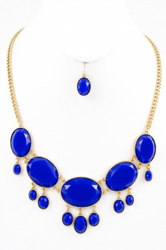 Extra Point Necklace and Earring Set - Blue
