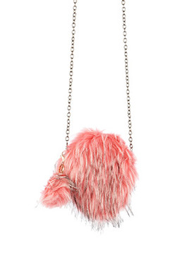 BAG ACCESSORY / FAUX FUR / ROUND CROSSBODY / ZIPPER CLOSURE / INTERIOR SLIP POCKET / REMOVABLE CHAIN STRAP / REMOVABLE POMPOM KEYCHAIN / 100% ACRYLIC / 8 INCH DIAMETER / ONE SIZE / NICKEL AND LEAD COMPLIANT