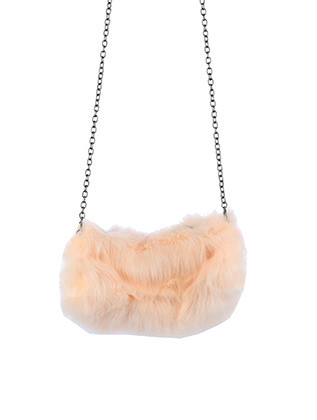 BAG ACCESSORY / FAUX FUR HANDWARMER / AND CLUTCH / FLEECE INTERIOR LINER / ZIPPER CLOSURE / INTERIOR SLIP POCKET / CROSSBODY / REMOVABLE CHAIN STRAP / 100% ACRYLIC / 11 INCH WIDE / 6 INCH TALL / ONE SIZE / NICKEL AND LEAD COMPLIANT