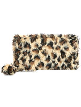 BAG ACCESSORY / LEOPARD PATTERN / FAUX FUR CLUTCH WALLET / POMPOM CHARM / ZIPPER / COIN POCKET / CASH POCKET / CREDIT CARD POCKET / ONE SIZE / 8 INCH WIDE / 4 INCH TALL / NICKEL AND LEAD COMPLIANT