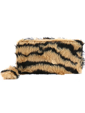 BAG ACCESSORY / TIGER PATTERN / FAUX FUR CLUTCH WALLET / POMPOM CHARM / ZIPPER / COIN POCKET / CASH POCKET / CREDIT CARD POCKET / ONE SIZE / 8 INCH WIDE / 4 INCH TALL / NICKEL AND LEAD COMPLIANT