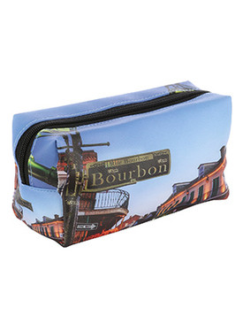 BAG ACCESSORY / BOURBON STREET PRINT / VINYL MAKEUP POUCH / ZIP CLOSURE / 7 INCH WIDE / 4 INCH TALL / 3 INCH DEEP / ONE SIZE / NICKEL AND LEAD COMPLIANT
