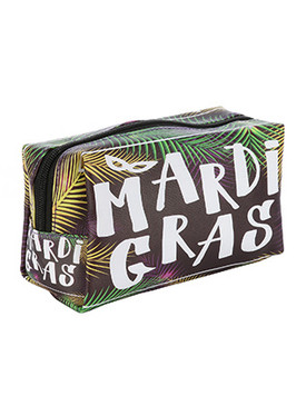 BAG ACCESSORY / MARDI GRAS PRINT / VINYL MAKEUP POUCH / ZIP CLOSURE / 7 INCH WIDE / 4 INCH TALL / 3 INCH DEEP / ONE SIZE / NICKEL AND LEAD COMPLIANT