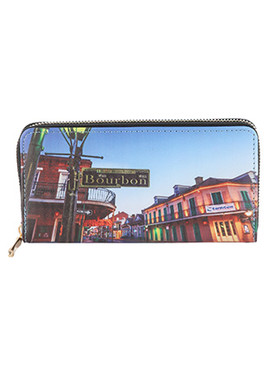 BAG ACCESSORY / BOURBON STREET PRINT / VINYL CLUTCH WALLET / ZIPPER / COIN POCKET / CASH POCKET / CREDIT CARD POCKET / ONE SIZE / 8 INCH WIDE / 4 INCH TALL / NICKEL AND LEAD COMPLIANT