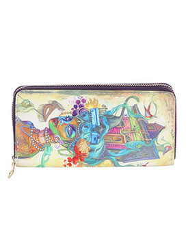 BAG ACCESSORY / MARDI GRAS PRINT / VINYL CLUTCH WALLET / ZIPPER / COIN POCKET / CASH POCKET / CREDIT CARD POCKET / ONE SIZE / 8 INCH WIDE / 4 INCH TALL / NICKEL AND LEAD COMPLIANT
