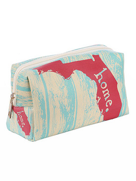 BAG ACCESSORY / STATE OF FLORIDA / VINYL MAKEUP POUCH / HOME / ZIP CLOSURE / 8 INCH WIDE / 4 1/2 INCH TALL / 3 INCH DEEP / ONE SIZE / NICKEL AND LEAD COMPLIANT