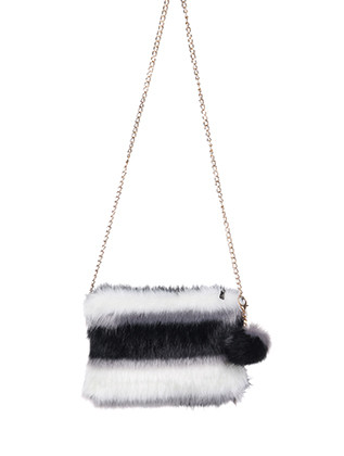 BAG ACCESSORY / FAUX FUR / CLUTCH / ZIPPER CLOSURE / INTERIOR SLIP POCKET / CROSSBODY / REMOVABLE CHAIN STRAP / REMOVABLE POMPOM KEYCHAIN / 100% ACRYLIC / 11 INCH WIDE / 8 INCH TALL / ONE SIZE / NICKEL AND LEAD COMPLIANT