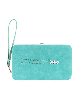 BAG ACCESSORY / FAUX SUEDE FINISH / CLUTCH WALLET / FISHBONE EMBELLISH / MESSAGE / SNAP CLOSURE / COIN POCKET / CASH POCKET / CREDIT CARD POCKET / ELASTIC CASH CLIPPER / ONE SIZE / 7 1/2 INCH WIDE / 4 1/2 INCH TALL / NICKEL AND LEAD COMPLIANT