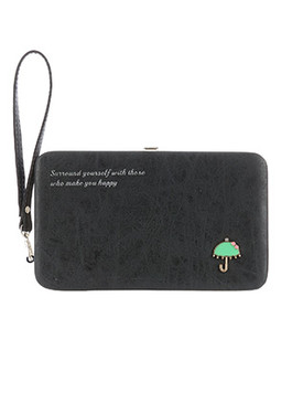 BAG ACCESSORY / FAUX SUEDE FINISH / CLUTCH WALLET / UMBRELLA EMBELLISH / EPOXY COATED METAL / MESSAGE / SNAP CLOSURE / COIN POCKET / CASH POCKET / CREDIT CARD POCKET / ELASTIC CASH CLIPPER / ONE SIZE / 7 1/2 INCH WIDE / 4 1/2 INCH TALL / NICKEL AND LEAD COMPLIANT