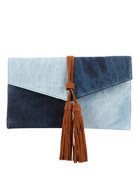 BAG ACCESSORY / TWO TONE / DENIM CLUTCH / FAUX SUEDE TASSEL / MAGNETIC CLOSURE / INTERIOR SLIP POCKET / CROSSBODY / REMOVABLE CHAIN STRAP / 11 INCH WIDE / 6 INCH TALL / ONE SIZE / NICKEL AND LEAD COMPLIANT