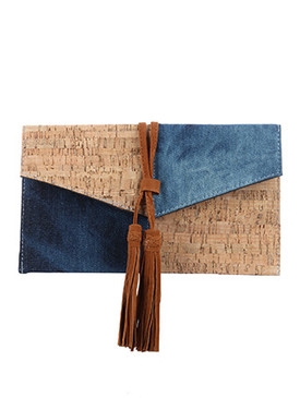 BAG ACCESSORY / DENIM / CORK CLUTCH / FAUX SUEDE TASSEL / MAGNETIC CLOSURE / INTERIOR SLIP POCKET / CROSSBODY / REMOVABLE CHAIN STRAP / 11 INCH WIDE / 6 INCH TALL / ONE SIZE / NICKEL AND LEAD COMPLIANT