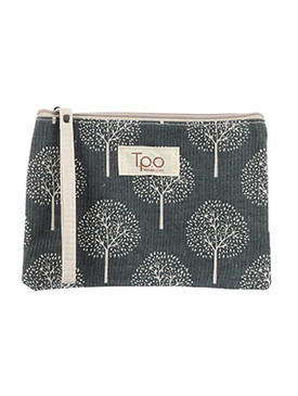 BAG ACCESSORY / TREE PRINT / MAKEUP POUCH / CANVAS COTTON / ZIP CLOSURE / WRIST STRAP / 8 INCH WIDE / 6 INCH TALL / ONE SIZE / NICKEL AND LEAD COMPLIANT