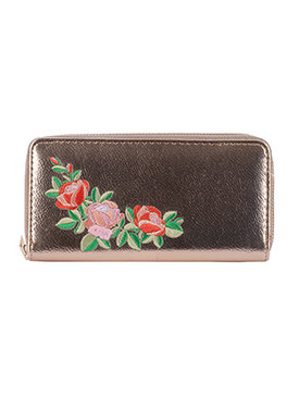BAG ACCESSORY / FLOWER EMBROIDERED / VINYL CLUTCH WALLET / METALLIC FINISH / ZIPPER / COIN POCKET / CASH POCKET / CREDIT CARD POCKET / ONE SIZE / 8 INCH WIDE / 4 INCH TALL / NICKEL AND LEAD COMPLIANT