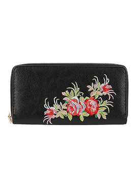 BAG ACCESSORY / FLOWER EMBROIDERED / VINYL CLUTCH WALLET / ZIPPER / COIN POCKET / CASH POCKET / CREDIT CARD POCKET / ONE SIZE / 8 INCH WIDE / 4 INCH TALL / NICKEL AND LEAD COMPLIANT