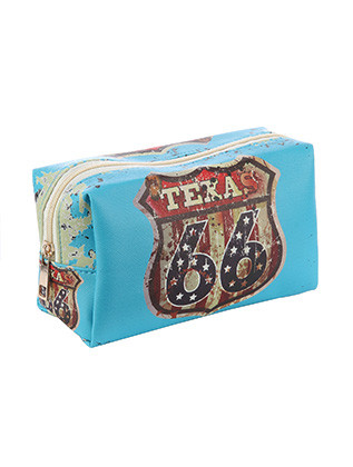 BAG ACCESSORY / ROUTE 66 TEXAS / VINYL MAKEUP POUCH / ZIP CLOSURE / 6 1/2 INCH WIDE / 4 INCH TALL / 3 INCH DEEP / ONE SIZE / NICKEL AND LEAD COMPLIANT