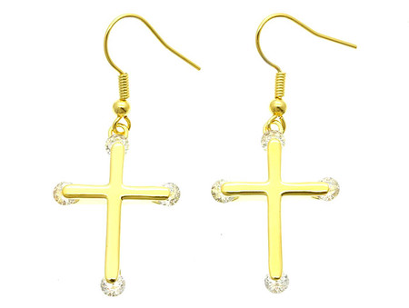 Fish Hook Cross Earrings with Crystal Stone - Gold