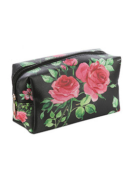 BAG ACCESSORY / ROSES PRINT / VINYL MAKEUP POUCH / ZIP CLOSURE / 6 1/2 INCH WIDE / 4 INCH TALL / 3 INCH DEEP / ONE SIZE / NICKEL AND LEAD COMPLIANT