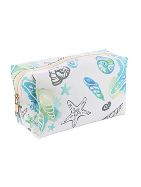 BAG ACCESSORY / SEALIFE PRINT / VINYL MAKEUP POUCH / ZIP CLOSURE / 6 1/2 INCH WIDE / 4 INCH TALL / 3 INCH DEEP / ONE SIZE / NICKEL AND LEAD COMPLIANT