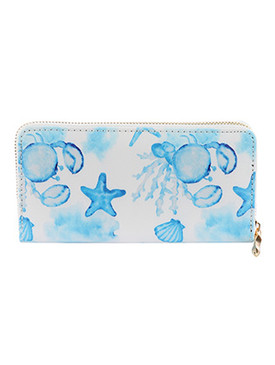 BAG ACCESSORY / SEALIFE PRINT / VINYL CLUTCH WALLET / ZIPPER / COIN POCKET / CASH POCKET / CREDIT CARD POCKET / ONE SIZE / 8 INCH WIDE / 4 INCH TALL / NICKEL AND LEAD COMPLIANT