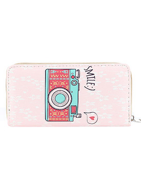 BAG ACCESSORY / CAMERA PRINT / FAUX LEATHER CLUTCH WALLET / MESSAGE / SMILE :) / ZIPPER / COIN POCKET / CASH POCKET / CREDIT CARD POCKET / ONE SIZE / 8 INCH WIDE / 4 INCH TALL / NICKEL AND LEAD COMPLIANT