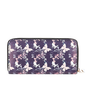 BAG ACCESSORY / BUTTERFLY PRINT / FAUX LEATHER CLUTCH WALLET / ZIPPER / COIN POCKET / CASH POCKET / CREDIT CARD POCKET / ONE SIZE / 8 INCH WIDE / 4 INCH TALL / NICKEL AND LEAD COMPLIANT