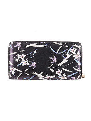 BAG ACCESSORY / BIRD AND FLOWER PRINT / FAUX LEATHER CLUTCH WALLET / ZIPPER / COIN POCKET / CASH POCKET / CREDIT CARD POCKET / ONE SIZE / 8 INCH WIDE / 4 INCH TALL / NICKEL AND LEAD COMPLIANT
