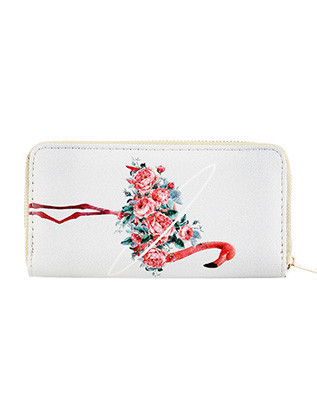 BAG ACCESSORY / PINK FLAMINGO PRINT / FAUX LEATHER CLUTCH WALLET / FLOWER / ZIPPER / COIN POCKET / CASH POCKET / CREDIT CARD POCKET / ONE SIZE / 8 INCH WIDE / 4 INCH TALL / NICKEL AND LEAD COMPLIANT