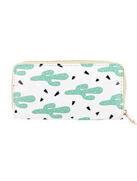 BAG ACCESSORY / CACTUS PRINT / FAUX LEATHER CLUTCH WALLET / ZIPPER / COIN POCKET / CASH POCKET / CREDIT CARD POCKET / ONE SIZE / 8 INCH WIDE / 4 INCH TALL / NICKEL AND LEAD COMPLIANT